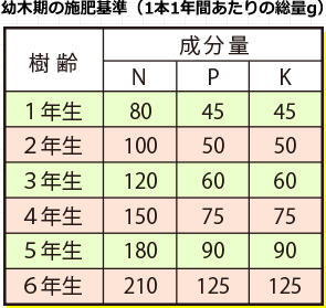 幼木期のせ施肥基準表